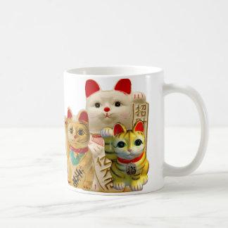 Lucky Cat Japanese Good Luck Waving Cats Group Coffee Mugs