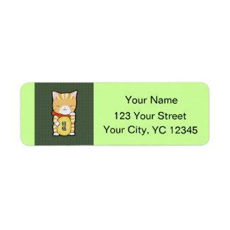 Lucky Cat Japanese Maneki Neko Good Luck Cat Label
