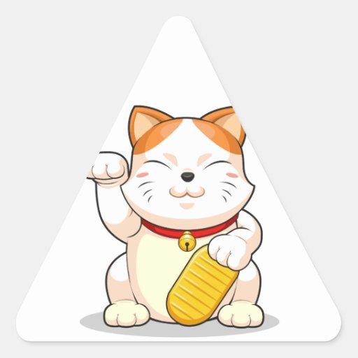 Lucky Cat (Makeni Neko) Triangle Sticker