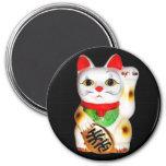 Lucky Cat Maneki Neko 3 Inch Round Magnet