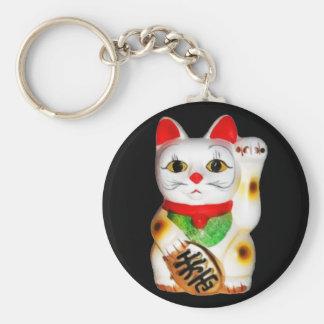 Lucky Cat Maneki Neko Basic Round Button Keychain