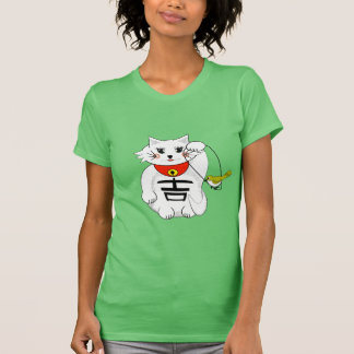 Lucky Cat- Maneki Neko - Beckoning... with Birdie Shirt