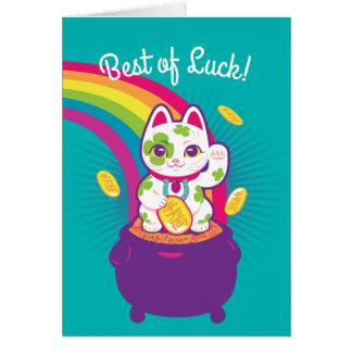 Lucky Cat Maneki Neko Good Luck Pot of Gold Card