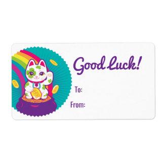 Lucky Cat Maneki Neko Good Luck Pot of Gold Label