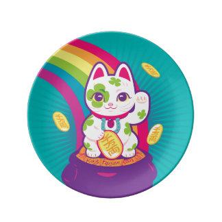 Lucky Cat Maneki Neko Good Luck Pot of Gold Porcelain Plate