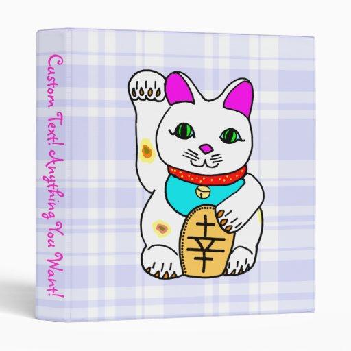 Lucky Cat Maneki Neko Kitty Blue Plaid 3 Ring Binders