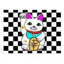 Lucky Cat Maneki Neko Kitty Postcard