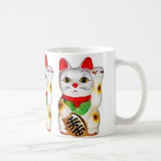 Lucky Cat Maneki Neko Classic White Coffee Mug