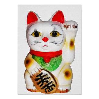 Lucky Cat Maneki Neko Poster