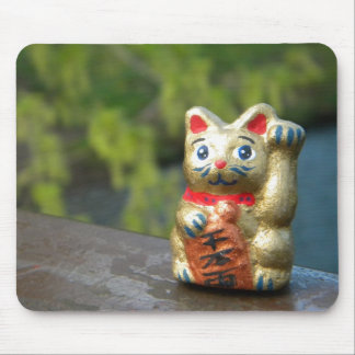 Lucky Cat on Green Mouse Pad