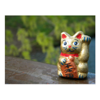 Lucky Cat on Green Post Card