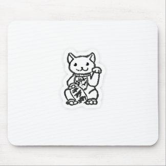Lucky cat shirt design 2 mouse pad