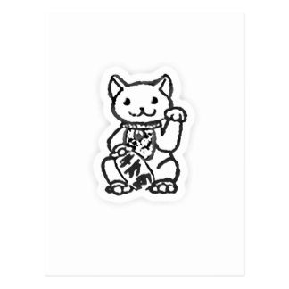 Lucky cat shirt design 2 postcard