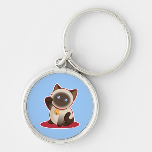 Lucky Cat Silver-Colored Round Keychain