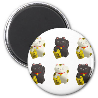 Lucky Cat Tiled 2 Inch Round Magnet