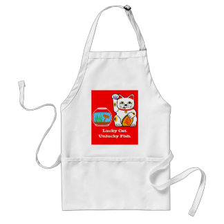 Lucky Cat. Unlucky Fish Adult Apron