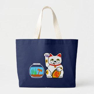lucky cat unlucky fish jumbo tote bag