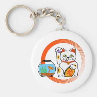 Lucky Cat. Unlucky Fish Basic Round Button Keychain