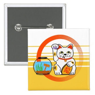 Lucky Cat. Unlucky Fish 2 Inch Square Button