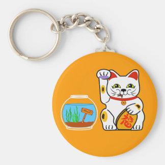 Lucky Cat. Unlucky Fish Basic Round Button Keychain