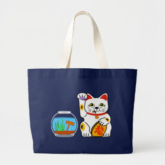 lucky cat unlucky fish large tote bag