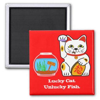 Lucky Cat. Unlucky Fish Refrigerator Magnets
