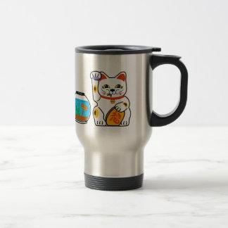 Lucky Cat. Unlucky Fish. 15 Oz Stainless Steel Travel Mug