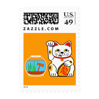 Lucky Cat. Unlucky Fish Postage Stamp