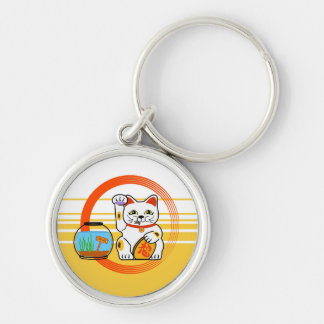 Lucky Cat. Unlucky Fish Silver-Colored Round Keychain
