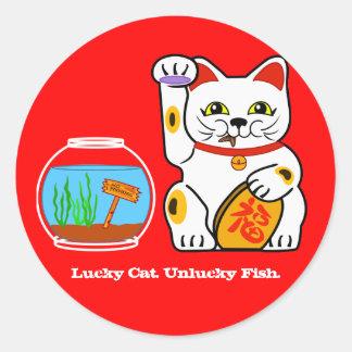 Lucky Cat. Unlucky Fish Classic Round Sticker