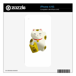 Lucky Cat White iPhone 4 Decals
