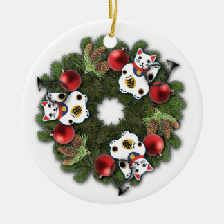 Lucky Cat Wreath Ornament
