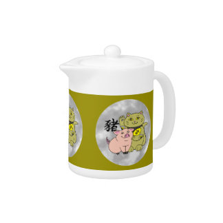Lucky Cat Year of the Pig Teapot
