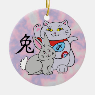 Lucky Cat Year of the Rabbit Ceramic Ornament