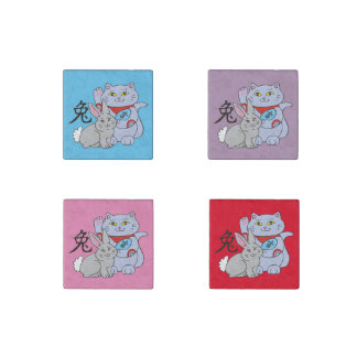 Lucky Cat Year of the Rabbit Stone Magnet