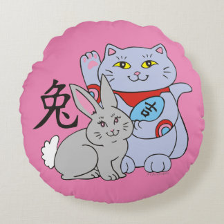 Lucky Cat Year of the Rabbit Round Pillow