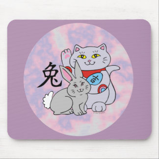 Lucky Cat Year of the Rabbit Mouse Pad