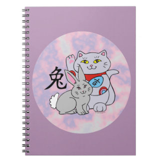 Lucky Cat Year of the Rabbit Spiral Note Books