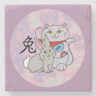 Lucky Cat Year of the Rabbit Stone Coaster