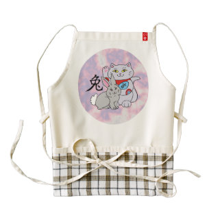 Lucky Cat Year of the Rabbit Zazzle HEART Apron
