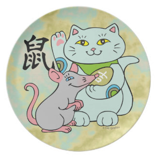 Lucky Cat Year of the Rat Dinner Plate