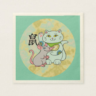 Lucky Cat Year of the Rat Standard Cocktail Napkin