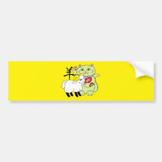 Lucky Cat Year of the Sheep Car Bumper Sticker