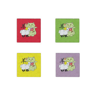 Lucky Cat Year of the Sheep Stone Magnet