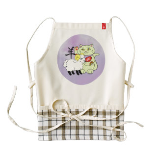 Lucky Cat Year of the Sheep Zazzle HEART Apron