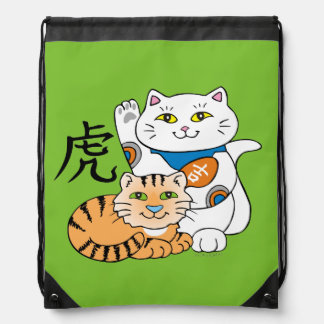 Lucky Cat Year of the Tiger Drawstring Bag