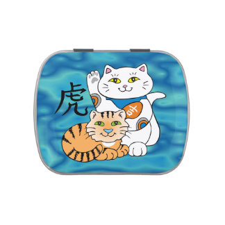 Lucky Cat Year of the Tiger Jelly Belly Candy Tins