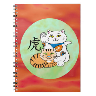 Lucky Cat Year of the Tiger Spiral Notebooks