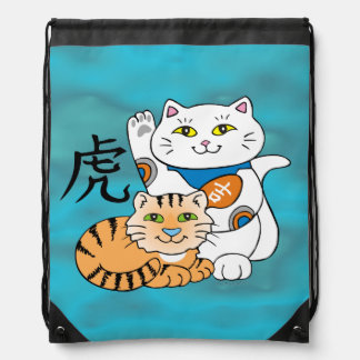 Lucky Cat Year of the Tiger Drawstring Backpack