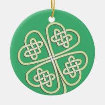 Lucky Celtic Clover Round Ornament